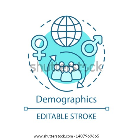 Demographics turquoise concept icon. Worldwide population idea thin line illustration. Different societies, cultures, ethnicity, gender, region, ages vector isolated outline drawing. Editable stroke