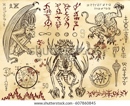 Stock Photo Demon collection with mystic and occult symbols. Hand drawn engraved vector illustration. There is no foreign text in the image, all symbols are imaginary and fantasy ones.