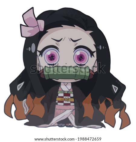 Demon Killer: Kimetsu No Yaiba kamado Nezuko white background Stock photo ©
