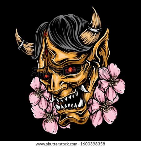 demon mask japanese vector logo ストックフォト ©