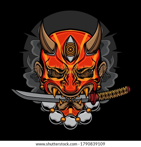 demon oni mask katana, vector EPS 10