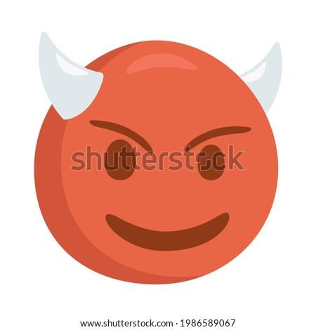 Demon Sign Emoji Icon Illustration. Evil Monster Vector Symbol Emoticon Design Clip Art Sign Comic Style. Foto stock ©