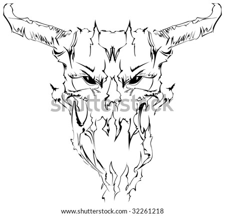 Tatto  on Demon Skull  Tattoo Design Stock Vector 32261218   Shutterstock