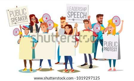 Demonstrate Protest People Shouting Through Megaphone Vector. Public Protest. Social Activist. Loud Announcement. Loud Demonstration, Strike, Speech Concept. Isolated Flat Cartoon Illustration