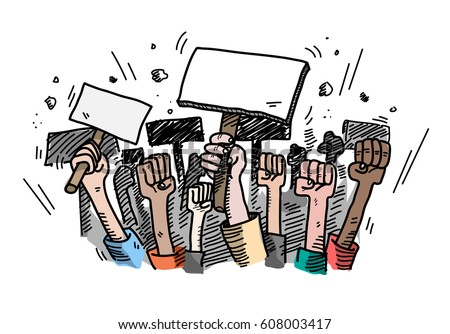 Demonstration. Mass Protest, a hand drawn vector doodle illustration of people protesting about something, the blank protest board could be filled with text of your own choice.
