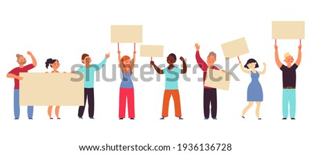 Demonstration. People hold banners, worker with blank placard. Protest crowd, meeting for peace or rights. Eco activists decent vector characters ストックフォト ©