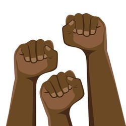 Demonstration, revolution, protest. Three clenched fists in protest. African Americans. The symbol of freedom, struggle, revolution, unity, strength and struggle. Simple basic illustration