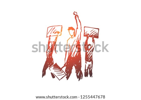 Demonstration, riots, rallies vector concept. People with signs in hands taking part in rally. Hand drawn sketch isolated illustration