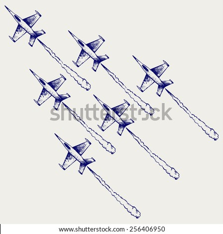 Demonstration squadron. Doodle style
