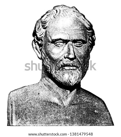 Demosthenes, 384-322 BC, he was a Greek statesman and orator of ancient Athens, vintage line drawing or engraving illustration