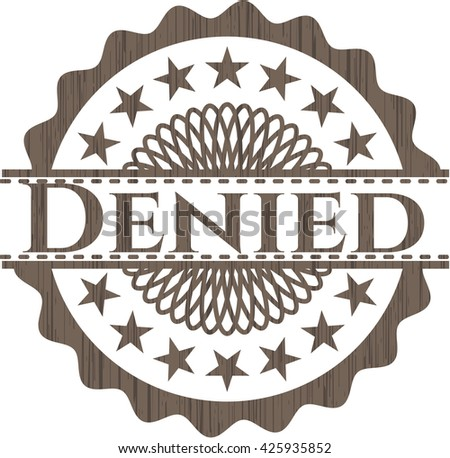 Denied retro style wooden emblem