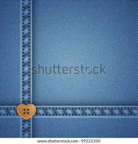 denim and heart sewing button, vector background