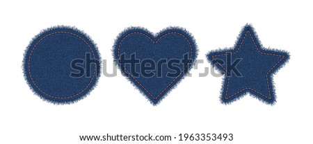 Denim circle, heart and star shapes with stitches. Torn jean patch with seam. Vector realistic illustration on white background. Сток-фото ©