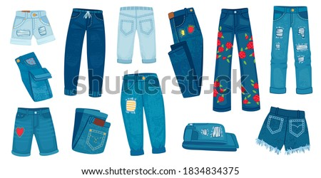 Denim jean pants. Trendy fashion female jeans. Cartoon ripped shorts and trousers with patches and texture. Casual style clothes vector set. Denim pants fashion, casual trousers garment illustration
