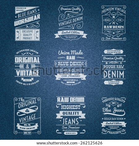 denim jeans white typography