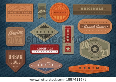 Denim labels. Graphic leather badge and textured background, authentic embroidery typography jeans clothes fashion print collection, vintage emblems with text retro western sticker vector isolated set
