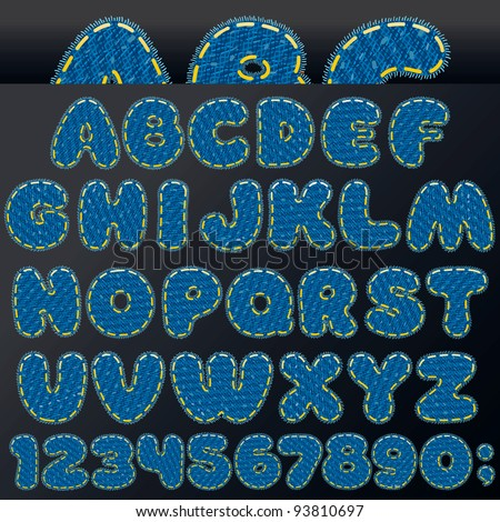 Denim Patch Letters and Numbers, Vector Design Elements