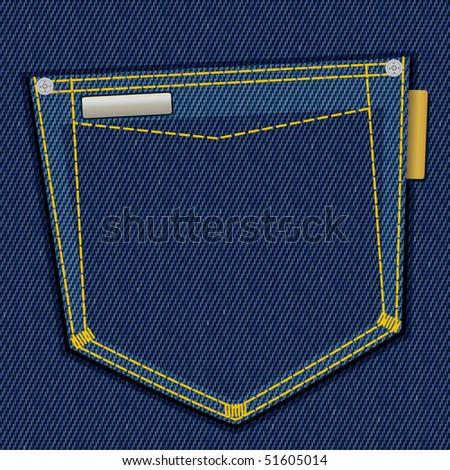 Denim pocket with empty label, vector illustration, EPS10