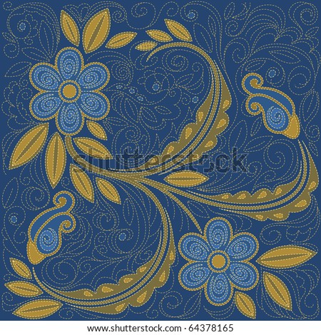 Denim stitching floral background