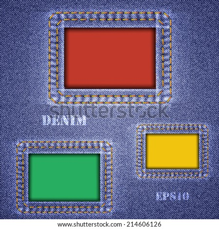 Denim texture with colored square holes. Vector illustration.