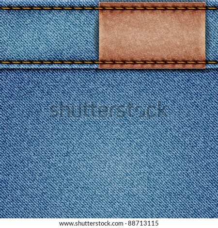 Denim texture with leather label. Vector eps10 illustration