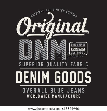 Denim typography, tee shirt graphics, vectors