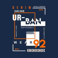 denim urban graphic typography t shirt design, vector vintage illustration artistic art