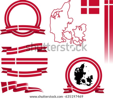 Danish Flags Ribbons And Sticker Vectors Download Free Vector - Denmark flags