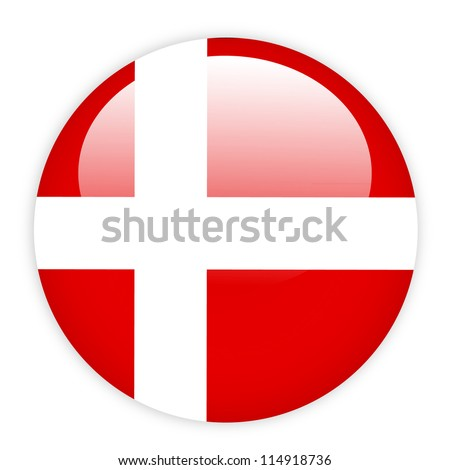 denmark flag button on white
