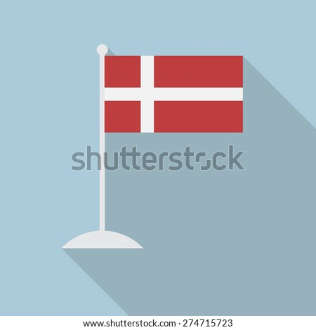 denmark flag with flagpole flat
