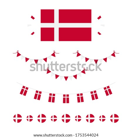 Denmark flags, borders, garlands set, collection for Flag Day and other danish national holidays. Stockfoto ©