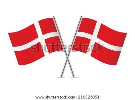 Denmark flags vector illustration