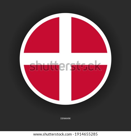 Denmark officially the Kingdom of Denmark, is a Nordic country in Northern Europe. Denmark proper, which is the southernmost of the Scandinavian countries. Denmark button flag icon Foto stock ©