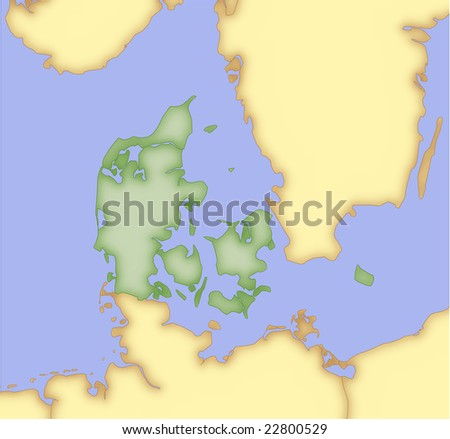 Denmark, vector map, with borders of surrounding countries. 5 named layers, fully editable.