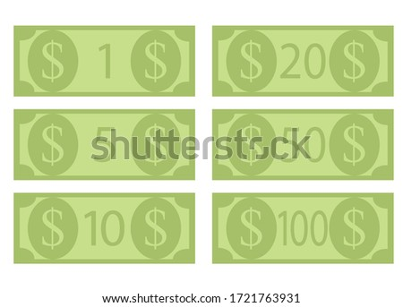 denomination of dollar bills