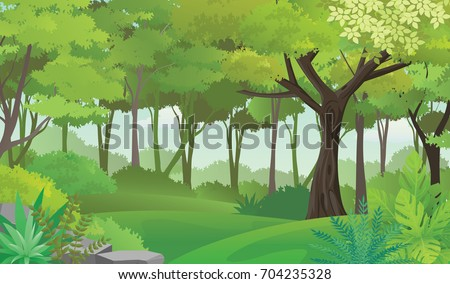 Dense Green Forest.Rain Forest Vector Illustration
