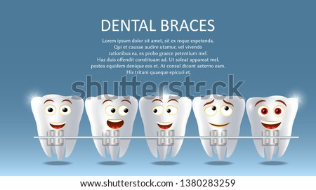 Dental braces vector poster banner template. Cute happy teeth with metal braces. Orthodontic treatment, bite correction or jaw alignment concept.