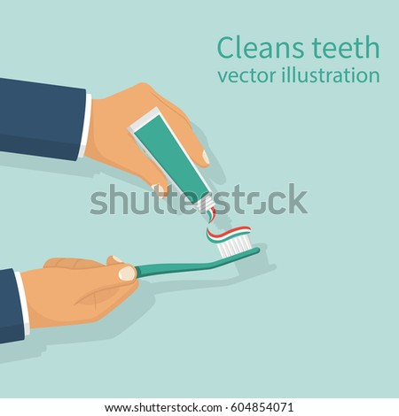 Dental care concept. Cleans teeth. A man holding in hand a toothbrush and a tube of toothpaste, squeezing. Oral hygiene. Vector illustration flat design. Isolated on background. #604854071