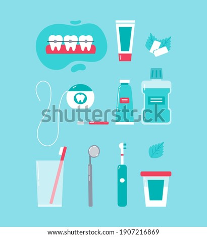 Dental care concept. Various accessories for daily dental care. Toothbrush, dental floss, mouthwash, braces, chewing gum, mint, dentifrice. Vector cartoon illustration in trendy colors. Photo stock ©