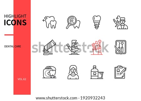 Dental care - line design style icons set. Personal hygiene, healthcare, stomatology concept. Tooth, cavity, implant, dentist, toothpaste, chair, toothbrush, tools, floss, smile, rinse, medical record Foto stock ©