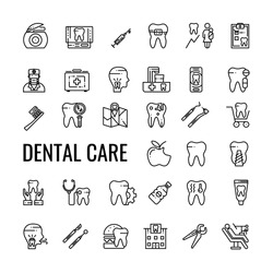 Dental Care Outline icon set. Dentist Tools and Tooth. Vector Linear  Isolated Design.