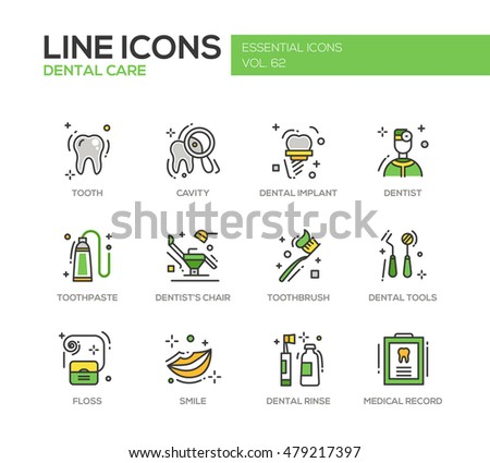 Dental care - set of modern vector line design icons and pictograms. Tooth, cavity, implant, toothpaste, dentist chair, toothbrush, tools, floss, smile rinse medical record