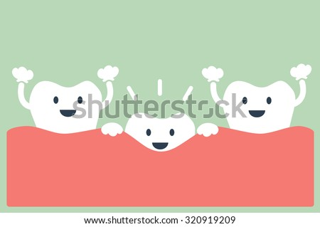 dental cartoon vector, teeth grow