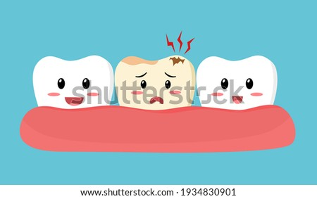 Dental cavity concept.. Smiling healthy teeth with sad decay tooth cartoon in flat design. Dental problem. Toothache. Oral care. Photo stock ©
