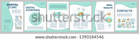 Dental clinic brochure template layout. Oral health care. Flyer, booklet, leaflet print design with linear illustrations. Vector page layouts for magazines, annual reports, advertising posters