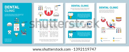 Dental clinic brochure template layout. Teeth treatment. Flyer, booklet, leaflet print design with linear illustrations. Vector page layouts for magazines, annual reports, advertising posters