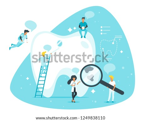Dental clinic concept. Dentist standing around big tooth and treat it. Speech bubbles. Minimalism design with people silhouettes and exaggerated objects. Vector illustration.