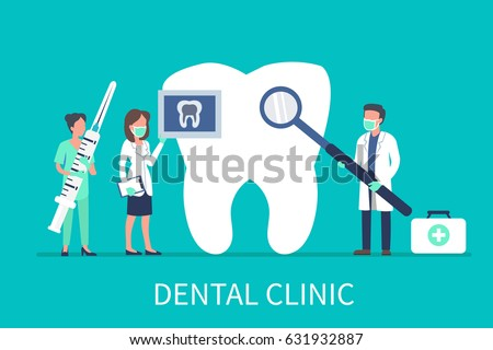 Dental clinic concept design for web banners, infographics. Stomatology dentist at work. Flat style vector illustration.