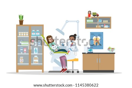 Dental clinic interior. Little child visiting the dentist with toothache. Healthcare and oral hygiene. Isolated flat vector illustration