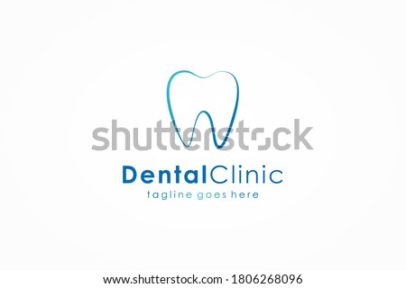 Dental Clinic Logo. Blue Linear Shape Tooth Symbol isolated on White Background. Usable for Dentist, Dental Care and Medical Logos. Flat Vector Logo Design Template Element